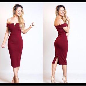 Dresses & Skirts - Red wine Bardot dress 3